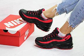 Женские,подростковые зимние кроссовки Nike 95,черные с красным, фото 2