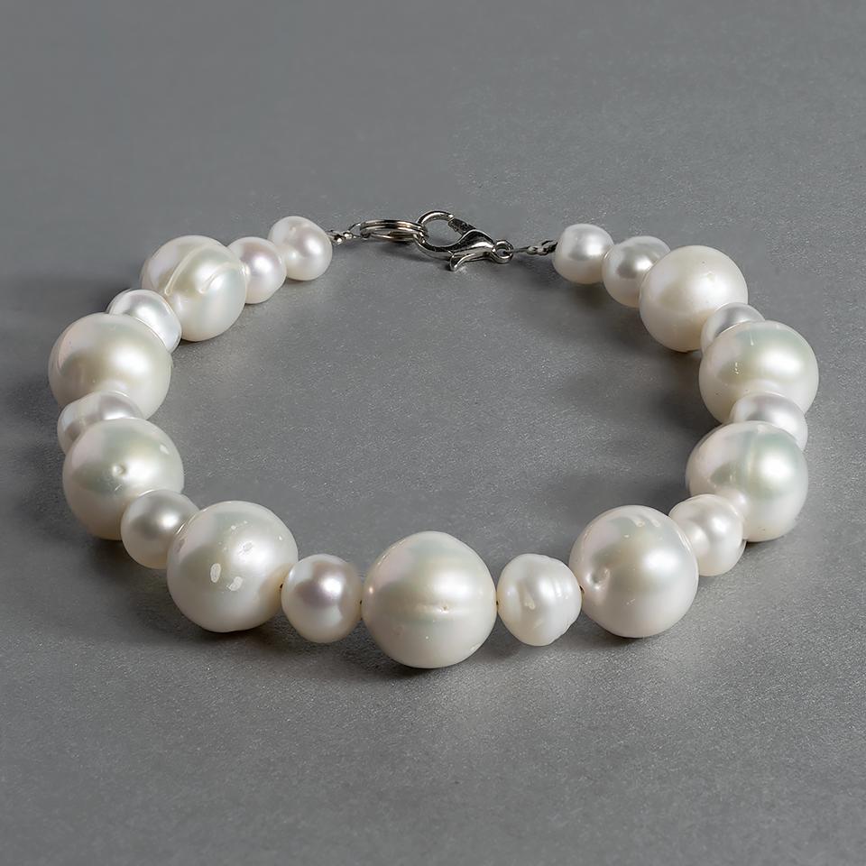 Жемчуг белый, Ø8-12 мм., браслет, 466БРЖ