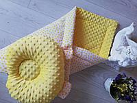 Детское одеяло конверт зимнее жёлтое минки плюш, фото 1