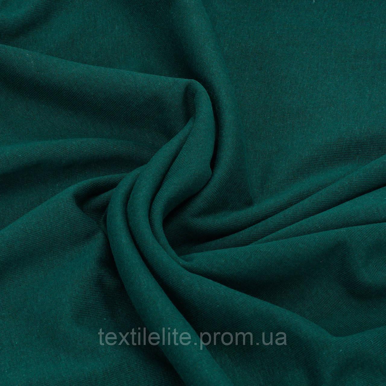 Ткань трикотажная кулирная гладь Темно Зеленая. Трикотажное полотно в рулонах. Хлопок 100%