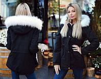 Женская тёплая зимняя куртка-парка до больших размеров 9015