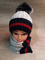 Подростковая зимняя шапка и шарф на девочку, фото 1