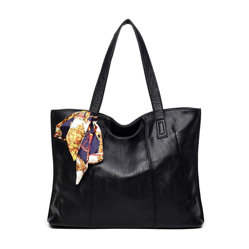 Женская сумка на молнии черная большая с длинными ручками и ленточкой