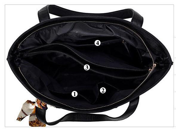Женская сумка на молнии черная большая с длинными ручками и ленточкой, фото 4