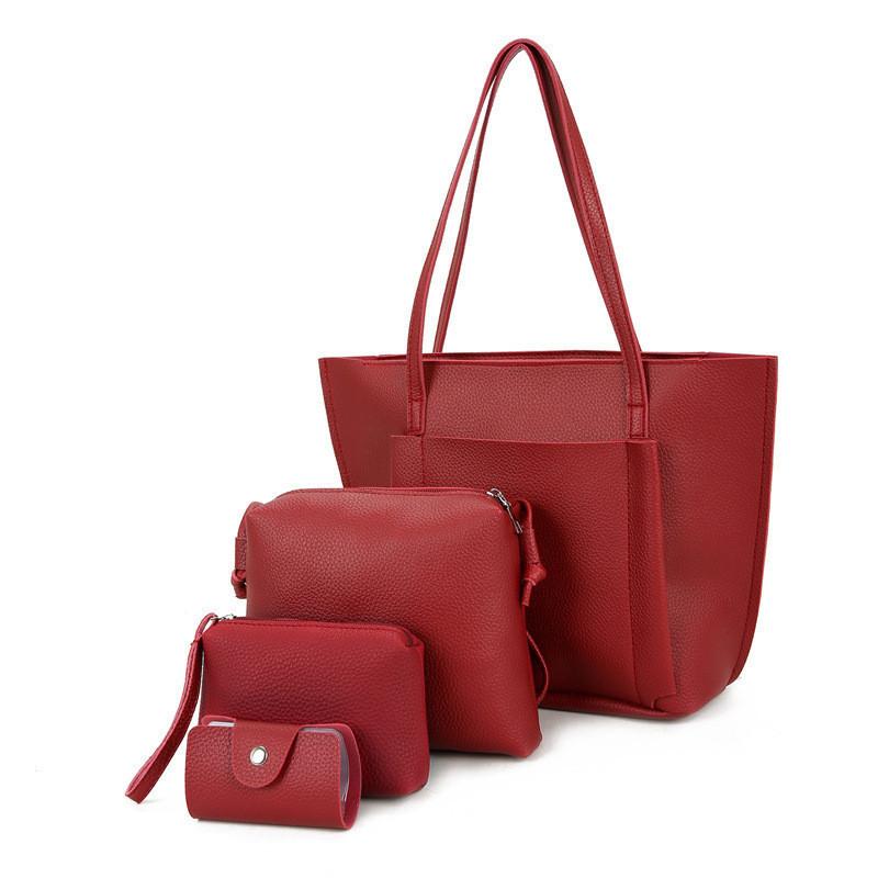 Женская сумка большая. Набор в красном цвете 650 опт