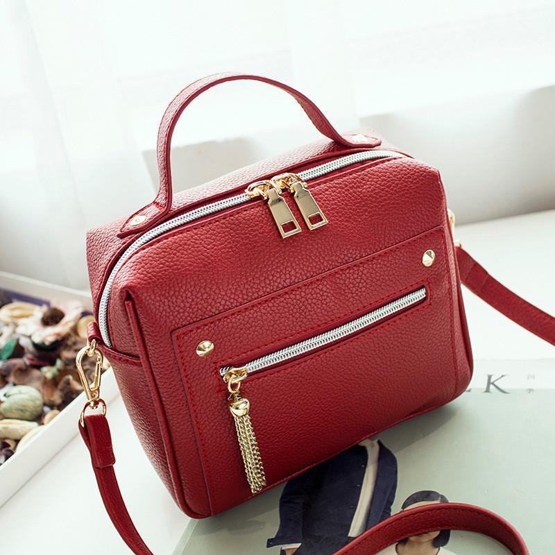 Женская сумка красная небольшая с молниями опт