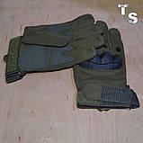 Тактические перчатки армейские полнопалые олива, фото 2