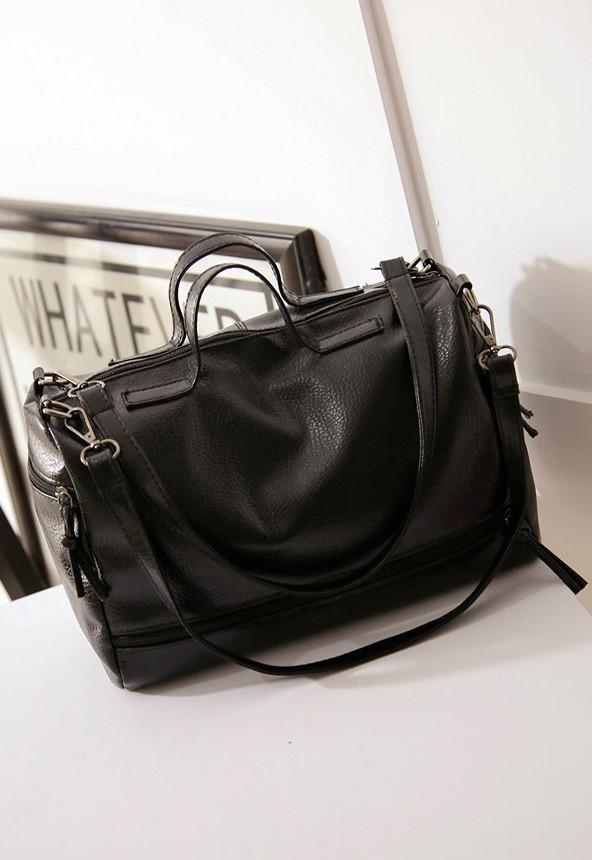 Женская сумка круглая с ручками черная опт