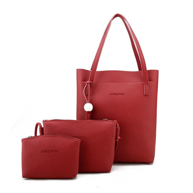Женская сумка в наборе 3в1 + мини сумочка и клатч красный опт