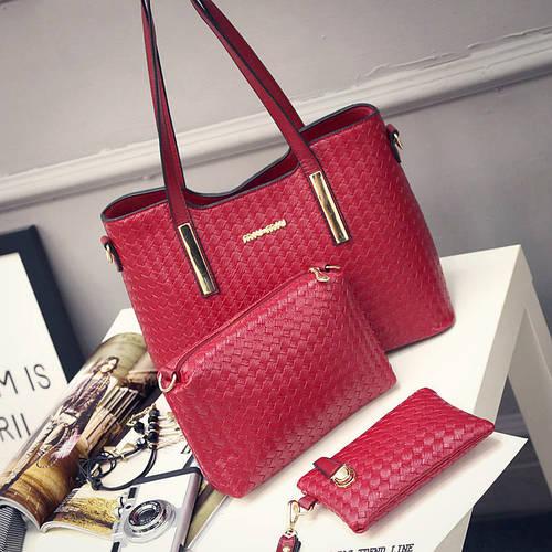 da56f766d35c Женская сумка набор 3в1 + маленькая сумочка и клатч красный опт купить по  выгодной цене в Украине. женские сумочки и клатчи 812036100