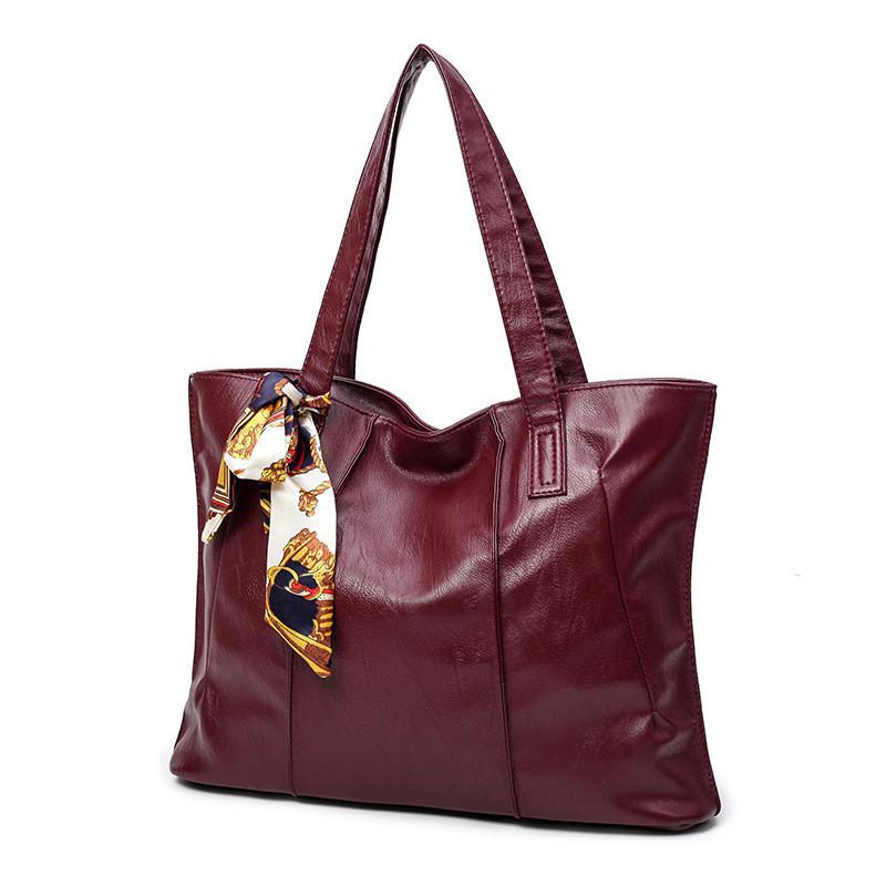 Женская сумка на молнии бордовая большая с длинными ручками и ленточкой опт