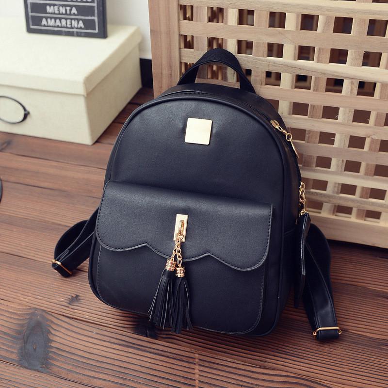 Женский рюкзак черный с кошелечком из экокожи опт