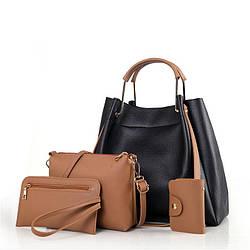 Набор женских сумок 4в1 черный из качественной мягкой экокожи опт
