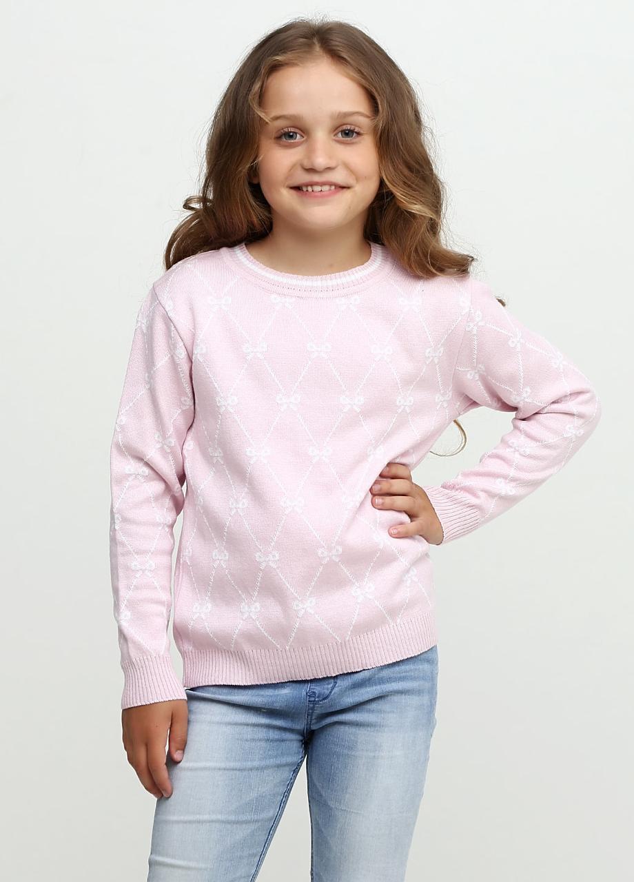 Вязаный джемпер для девочки Top Hat Узоры, розовый (134)