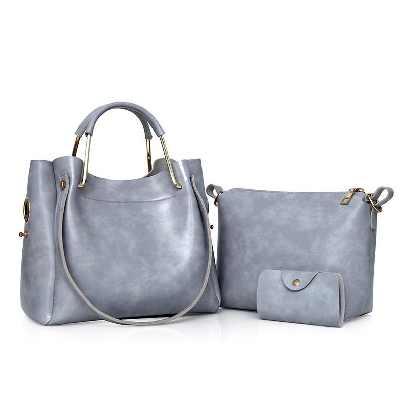 Женская сумка 3в1 среднего размера серая из экокожи опт