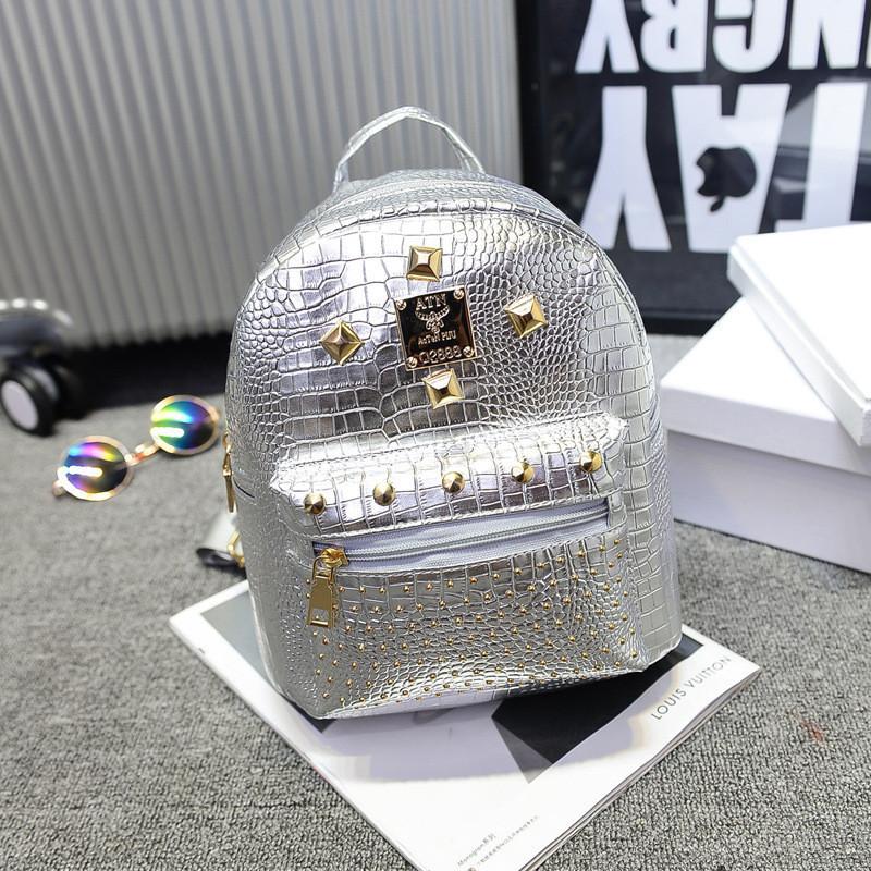 Женский рюкзак маленький серебристый экокожа