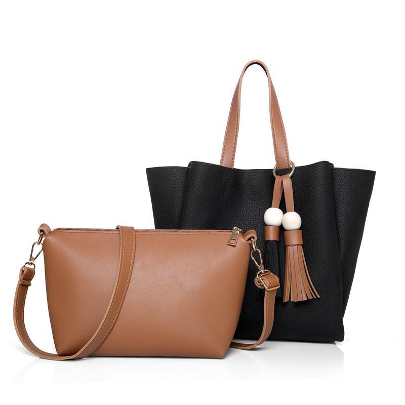 Женская сумка с кисточками большая черная + клатч из экокожи