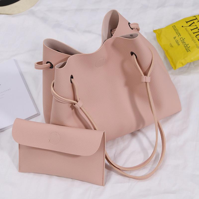 Женская большая сумка и клатч набор розовый опт