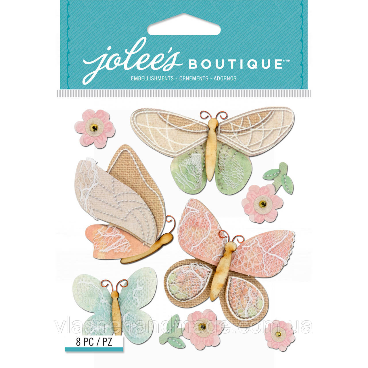 Наклейки 3D - BEAUTIFUL BUTTERFLIES - Jolee's Boutique - 8 шт.