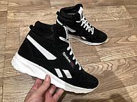 Reebok кроссовки женские зимние, чёрные, размеры 41-26 см