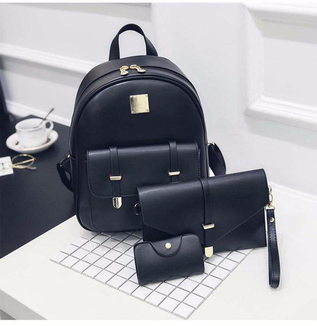 Женский рюкзак черный городской набор 3в1 из экокожи опт