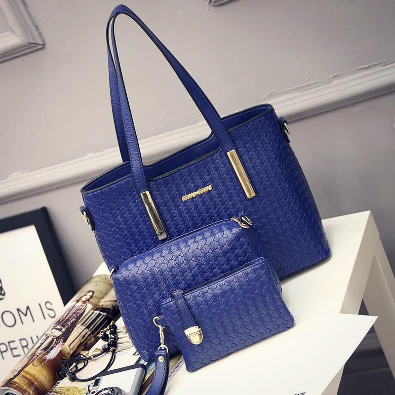 Женская сумка набор 3в1 + маленькая сумочка и клатч синий опт