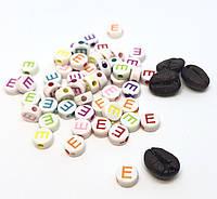 """Бусина круглая с буквой """"E"""" Английский алфавит 7мм"""