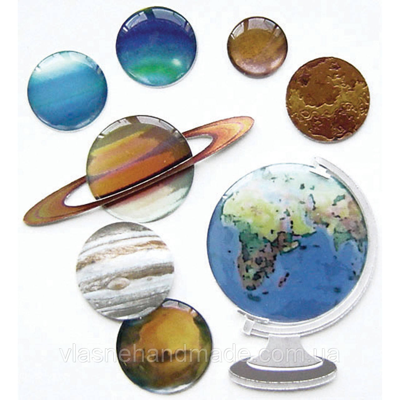 Наклейки 3D - GLOBE AND PLANETS  - Jolee's Boutique - 11 шт.