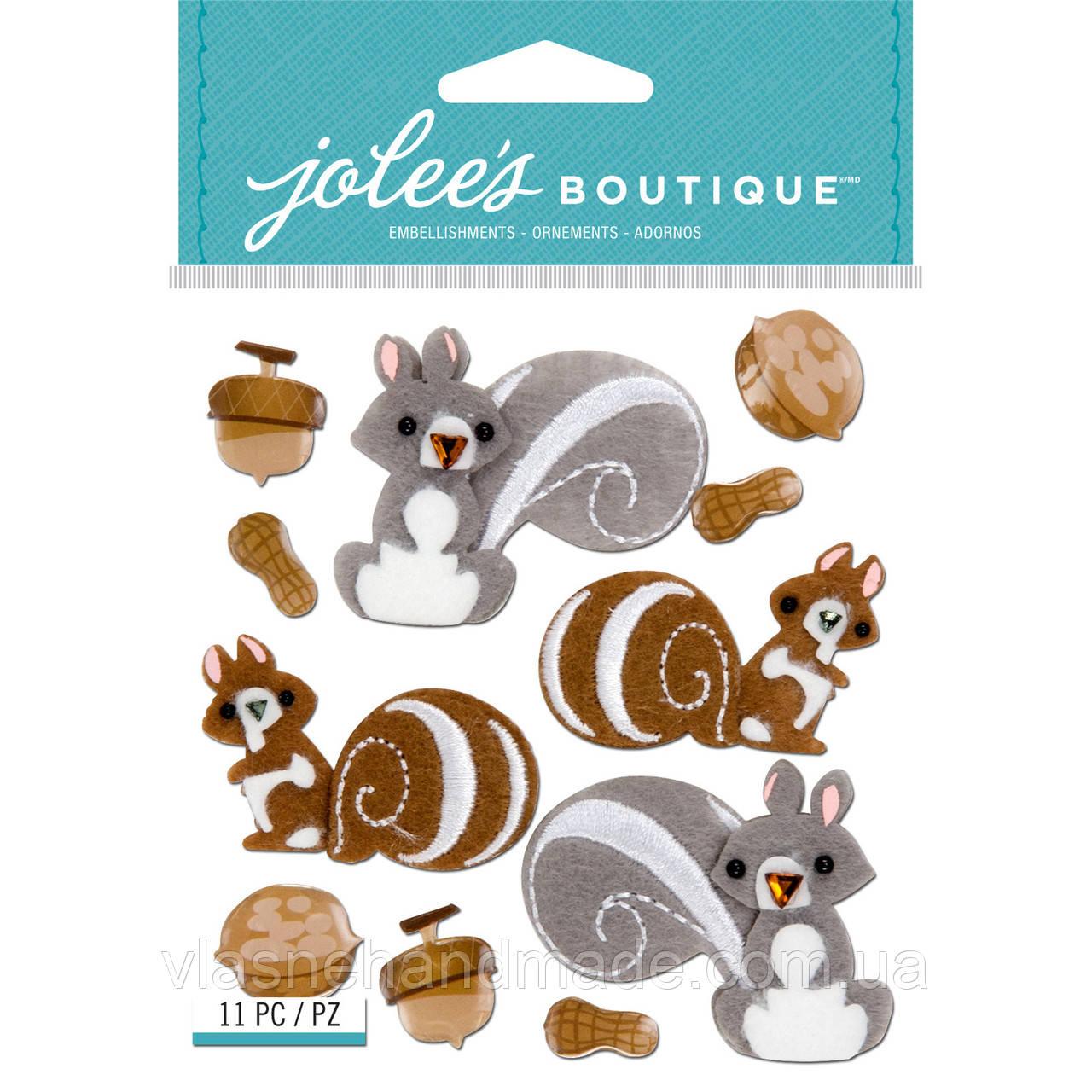 Наклейки з фетру 3D - SQUIRRELS AND NUTS - Jolee's Boutique - 11 шт.