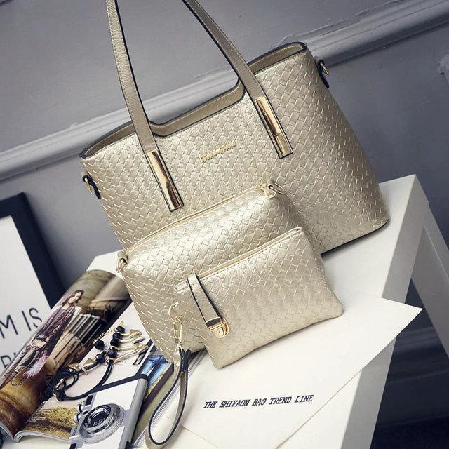 Женская сумка набор 3в1 + маленькая сумочка и клатч золотой