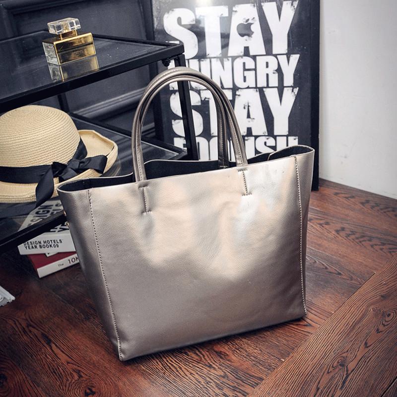 Жіноча сумка з ручками містка срібло, фото 1