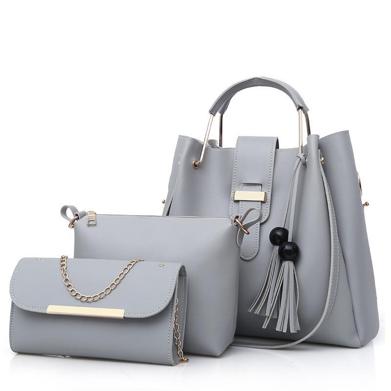 Набор женских сумок 3в1 серый из качественной экокожи с косточками