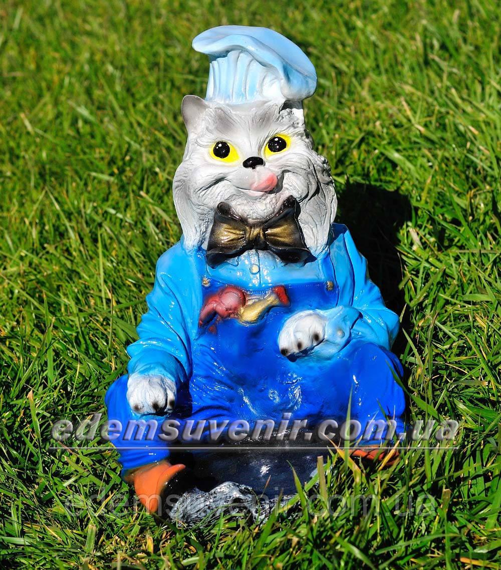 Садовая фигура Кот с миской