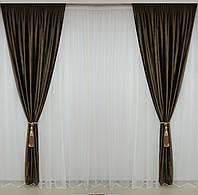 Бархатные шторы темно - коричневого цвета комплект