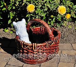 Садовая фигура Корзина с котенком, фото 3