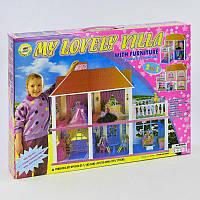 Домик Большой двухэтажный для кукол с мебелью и аксессуарами, дом для кукол типа барби 16 см, 6980