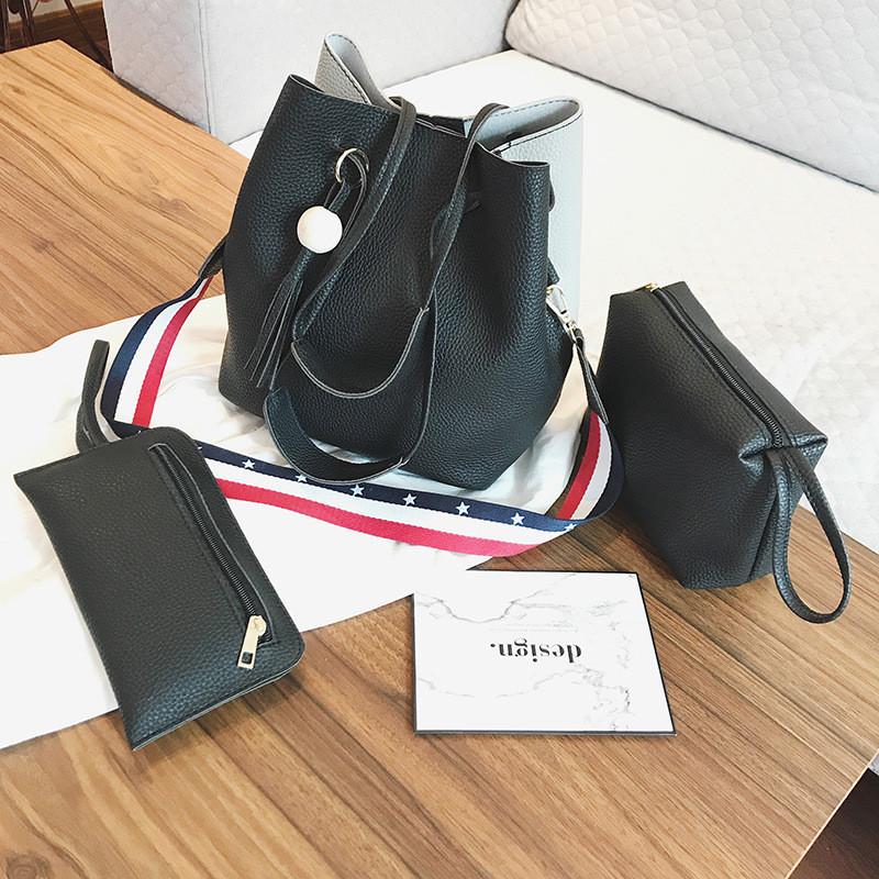 Женская сумка с кисточкой двуцветная набор 3в1 опт