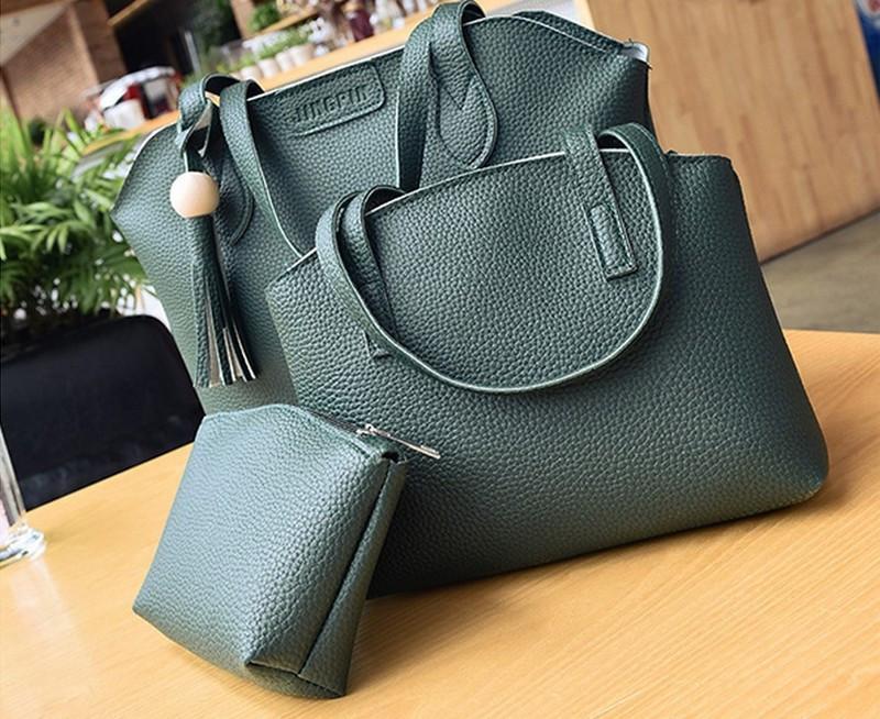 Женская сумка, мини сумочка и косметичка набор зеленый опт