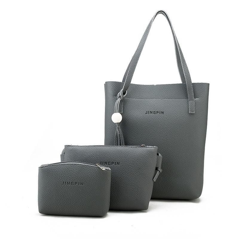 Женская сумка в наборе 3в1 + мини сумочка и клатч темно-серый опт