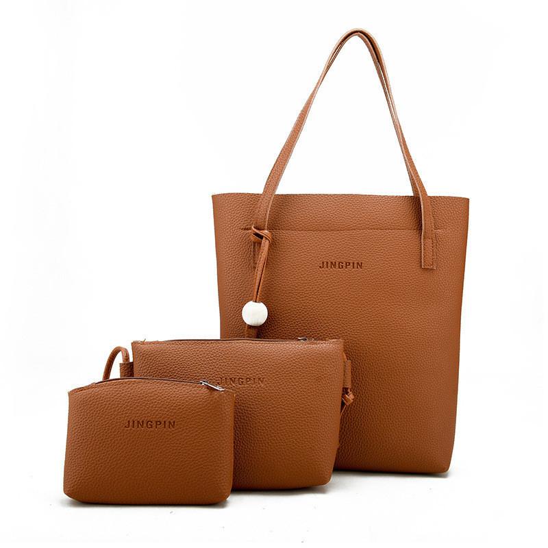 Женская сумка в наборе 3в1 + мини сумочка и клатч рыжий опт