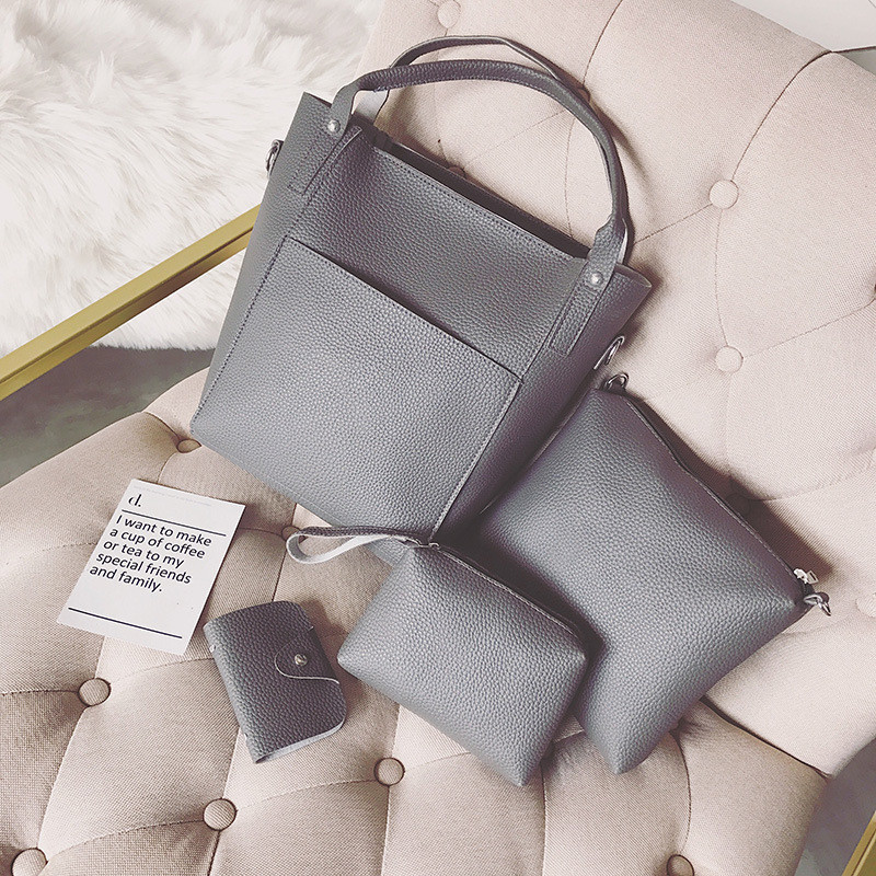 Женская сумка набор 4в1 + мини сумочка и косметичка темно-серый опт
