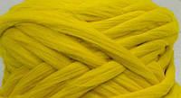 Австралийский меринос для валяния 23 микрон (10 грамм) - лимонная. Шерсть для валяния желтая. Фелтинг