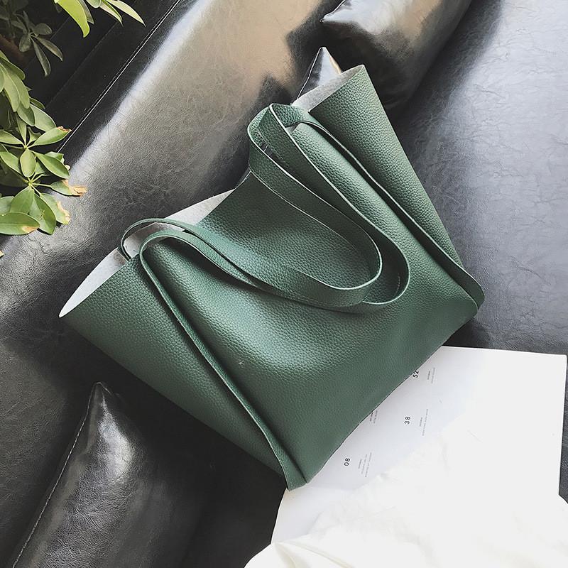 Женская сумка с ручками зеленая большая с косметичкой опт