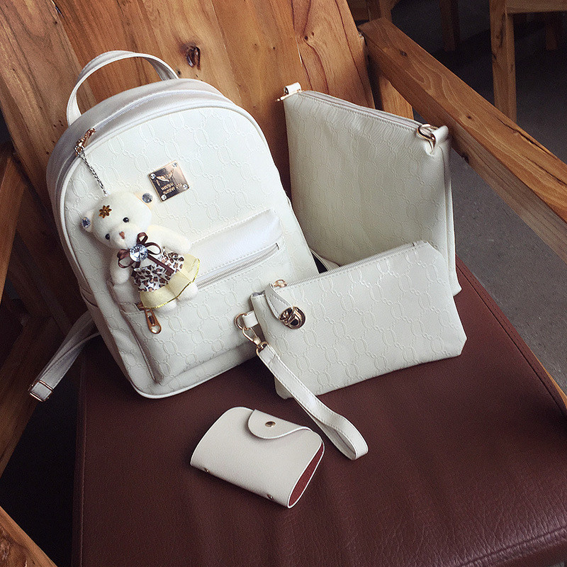Женский набор 4в1 рюкзак + сумочка + клатч + визитница молочный экокожа опт