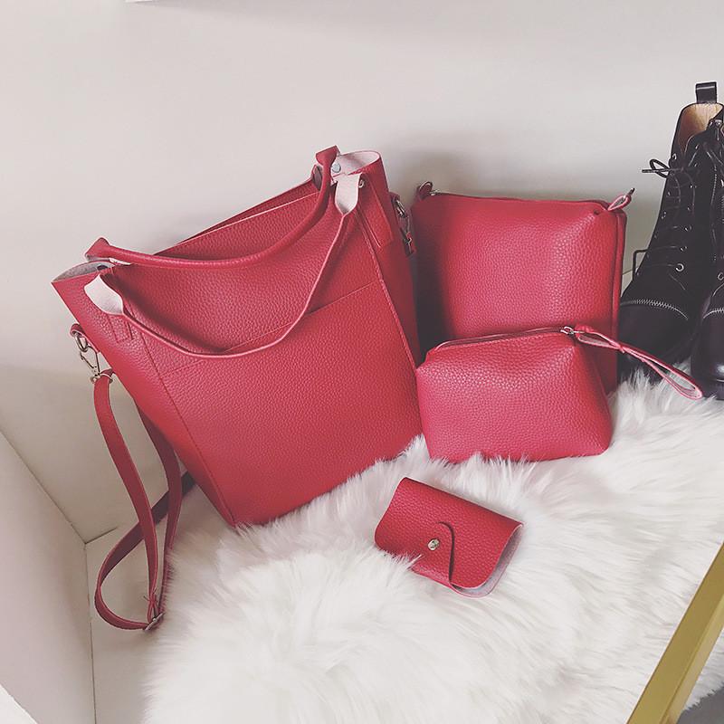 Женская сумка набор 4в1 + маленькая сумочка и косметичка красный опт