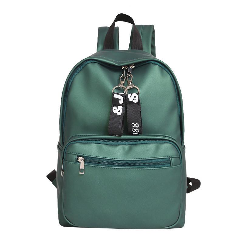 Женский рюкзак вместительный экокожа зеленый