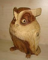 Сова різьблена дерев'яна 40 см