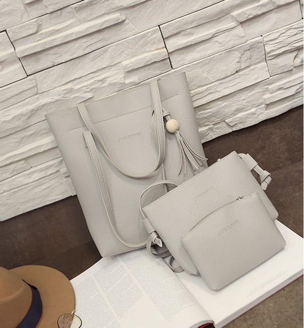 Женская сумка в наборе 3в1 + мини сумочка и клатч серый