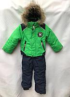 Детский зимний термокомбинезон с натуральным мехом для мальчикаот годика до 4лет,салатового цвета, фото 1