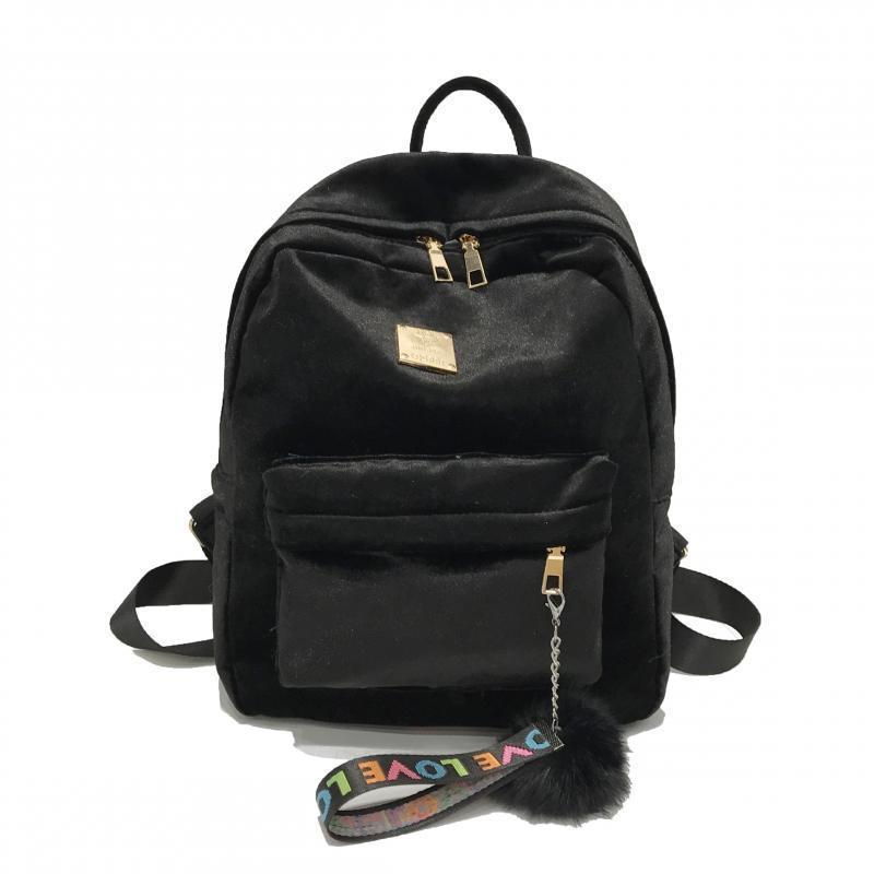 Женский рюкзак черный из ткани бархатный опт